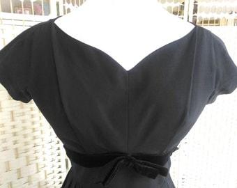 1950's New Look Black Taffeta Dress with Velvet Trim