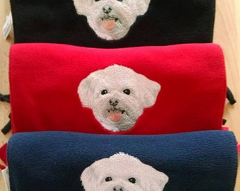 Embroidered Maltese Terrier Scarf