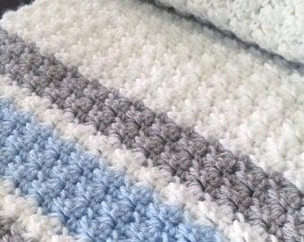 Crochet Baby Blanket, Baby Blanket in Soft Grey, White and Pale Blue- Travel/Stroller Blanket, Car seat  Blanket, Crib Blanket