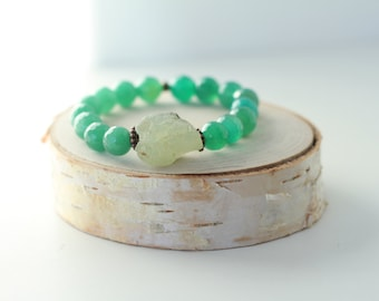Mylah Bracelet - green bracelet with faceted agate beads and prehinite stones