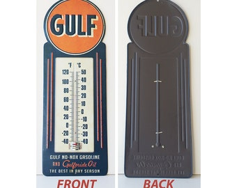 Vintage like Gulf gasoline metal wall thermometer sign, car collection, petroliana, gas & oil, man cave, garage, transportation
