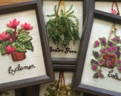 Set of 6 vintage hand-stitched embroidered floral works of art