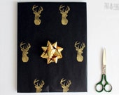 Hand printed wrapping paper | Black gift paper | Hand printed kraft paper | Stamped paper | Gold deer stamp | 27.5x39.5'' | 70x100cm