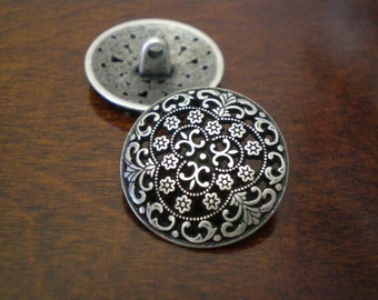 """2 - Silversmith Metal Buttons with Shank  3/4"""" (20mm)"""