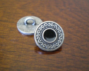 "3 - Black Medallion Metal Buttons with Shank 5/8"" (15mm)"