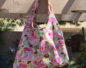 Reversible Floral Shoulder Purse, Cotton Shoulder Bag, Hand Made Floral Shoulder Bag