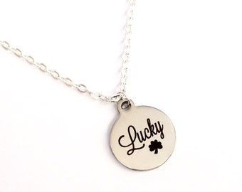 Lucky four leaf clover charm necklace, lucky charm, four leaf clover necklace, silver necklace, clover jewellery