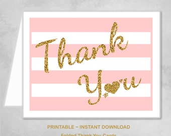 Printable Pink Gold Heart Thank You Cards Children Kids Girls Birthday Party Thank You Cards ~ DIY Instant Download
