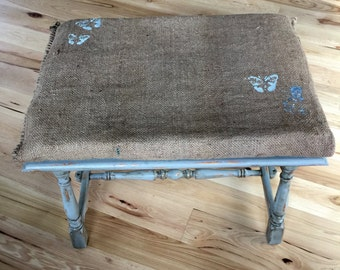 Upholstered.Bench.Stool.Ottoman.Distressed.Farmhouse.Vintage Primitive.Antique.Blue.Wood.Rustic.Spindle.Coffee/Grain Sack.Seat