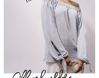 OFF SHOULDERS KNIT with ties gray summer sweater