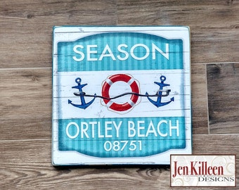 "Jersey Shore ""Ortley Beach""  Beach Badge Wood Sign // Jersey Shore Art // NJ // Beach Decor // Town Signs // Beach House Sign // Beach Tag"