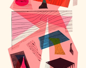 ABSTRACT Giclee Print, A3, Collage, Original Fine Art Print, Contemporary