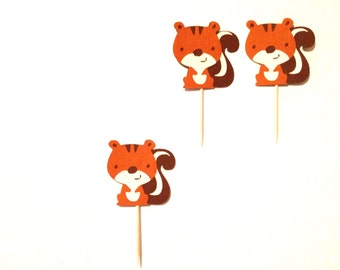 12 Squirrel Cupcake Toppers - Squirrel Birthday Party - Woodland Toppers -  Woodland Baby Shower - Woodland Birthday - Woodland Party Decor