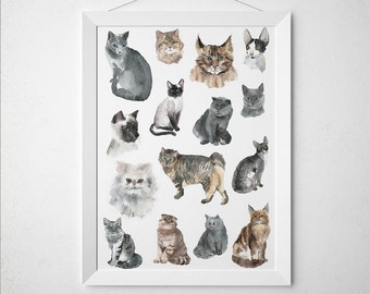 Animal poster Cute cat print Nursery art Watercolor print