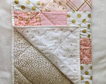 Baby Blanket, Modern Baby Quilt, Girl, Pink, Gold, White, Star, Bird, Dot, Chevron, Crib Bedding, Baby Bedding