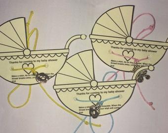 Baby Shower Wish Bracelet - Baby Shower Favours - Buggy Baby Shower Wish Bracelet - Baby Shower Wishstring Bracelet