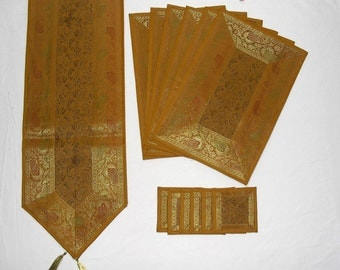 Yellow Color Indian Silk Table Runner with Placemat 6 and Coaster 6 Size 16x62