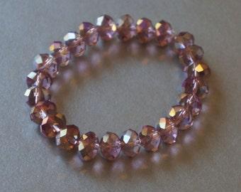 10mm pink crystal AB stretch bracelet
