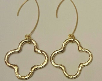 Gold Quatrfoil Chunky Earrings with Gold filled Ear Wires.