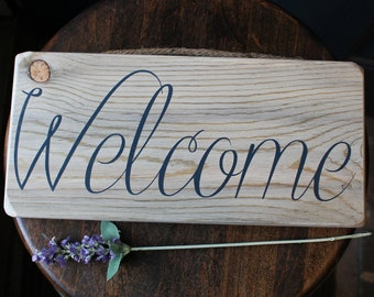Welcome - wood sign - 11.5 x 5.5 inches
