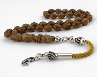 "33 Count Kuka Wood Prayer Beads Tasbih with 925K Silver ""Vav"" Tassel Tesbih Tasbeeh Subha Rosary FREE SHIPPING"