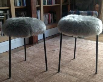 retro three legged metal stool