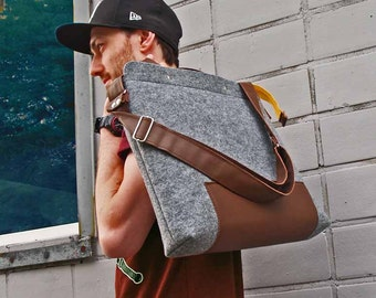 LAPTOP BAG MISTER 01 yellow zipper male felt bag takes 15 inch laptop shoulder bag with brown natural leather