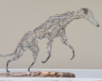 Running lurcher/greyhound wire sculpture - handmade sculpture/ornament/figure / recycled/reclaimed