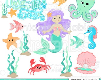 Cute Mermaid SVG Embellishment Set Cut File & Clipart ES021 - Includes Limited Commercial Use!