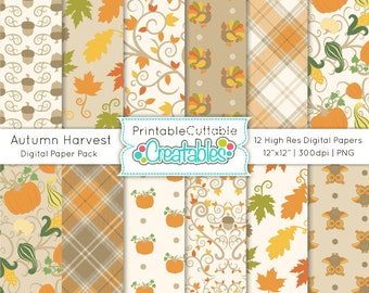 Autumn Harvest Digital Paper Pack Printable Patterns Instant Download - Includes Limited Commercial Use!