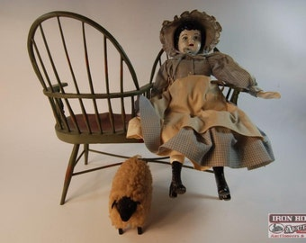 VINTAGE Folk Art Double Bench With Porcelain Doll And Sheep