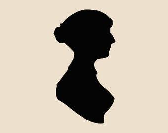 "Decal Jane Austen Silhouette - Various Colors - Size Ranges 4""x4"" - 12""x12"" - Price Ranges 3.99 - 15.99"