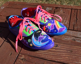 Hand Painted Galaxy Upcycled Tennis Shoes - Size 7