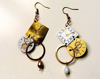 Earrings with watch dials