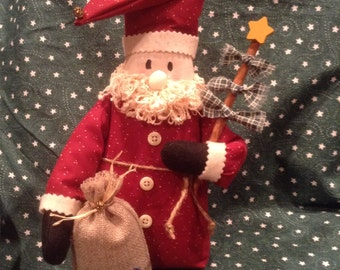 Santa,country Santa,Christmas Santa,Country Christmas,stand up Santa,shelf sitter,holiday decor,Christmas decor,winter decor,Christmas