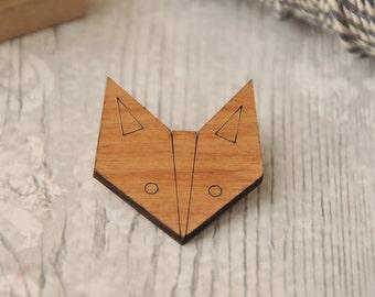 Cute Fox Wooden Brooch