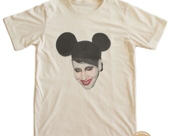 Mickey Marilyn Manson Punk T-shirt 100% Organic Cotton