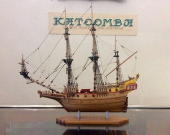 Vintage Ship Model Mounted Sailing ship