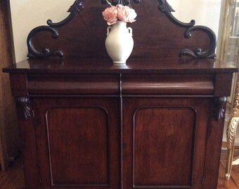 Antique Victorian Hand Carved Mahogany Chiffonier c.1860