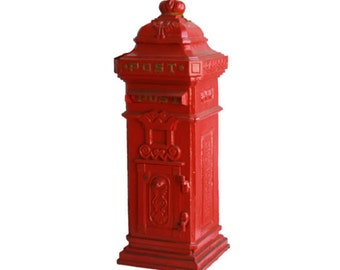Cast Iron Red Letterbox / Mailbox - Very Heavy / High Quality
