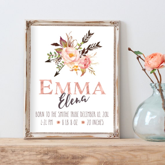 Birth Announcement Print Nursery Wall Art Personalized Baby