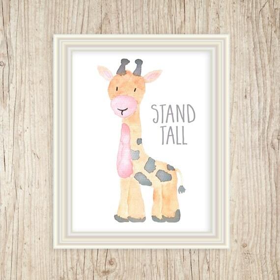 Watercolor Giraffe Art, Safari Decor, 8x10, Jungle Art, Jungle Animals, Safari Animals, Animal Nursery, Baby's Room Decorations, Yellow Gray