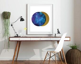 Blue Planet Art Print, Poster Print, Geometric Art, Galaxy Print, Office Art, Abstract Art Print, New Home Decor, Minimalist Poster Print