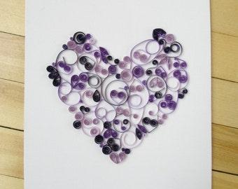 Paper Quilled Heart Wall Art, 9 x 12 Purple Heart Canvas Art by Maritime Handcrafts, Home Decor