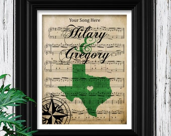 Custom Map Art | Custom Sheet Music | Your Custom State Silhouette | Personalized Map | Personalized gift for couple | Custom Gift For Him