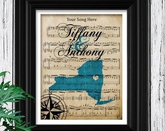 Gift For Her | Customized Sheet Music Art | Premium 100% Cotton Fiber Art Print | Your State Silhoette | Womens Gift | Wife Anniversary Gift