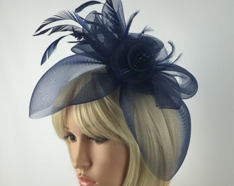Navy Blue Fascinator Dark Blue Flower Mesh And Feather Fascinator on Aliceband Wedding Dinner Dances Ascot Races Occasional hairband