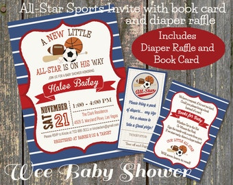Sports Baby Shower Invitation, Diaper Raffle and Bookcard Combo
