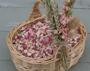 Flower Girl Basket and Biodegradable Confetti, Dried Natural Petals, RUSTIC COUNTRY BLEND