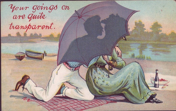 Vintage postcard ~ turn of the century humor ~ funny postcard ~ comic postcard ~ romantic gift ~ gift for girlfriend ~ gift for boyfriend
